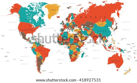 Green Red Yellow Brown World Map - borders, countries and cities - illustration. Highly detailed colored vector illustration of world map.