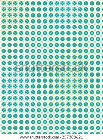 Green repeating circle pattern with line over white background - stock vector