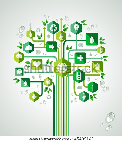 Green resources technology concept tree design. Vector file layered for easy manipulation and custom coloring. - stock vector