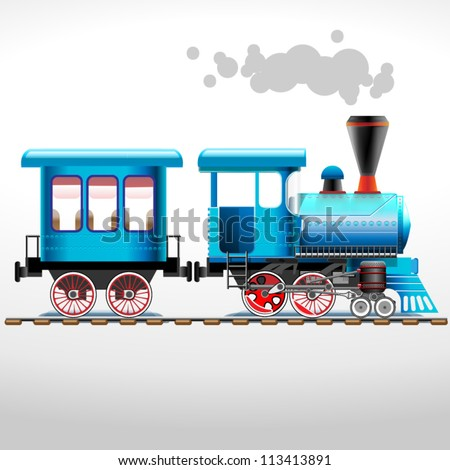 green retro locomotive with coach ride by rail (vector illustration) - stock vector
