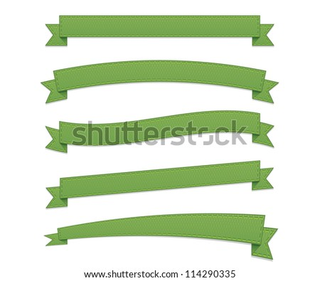 Green retro ribbons - stock vector