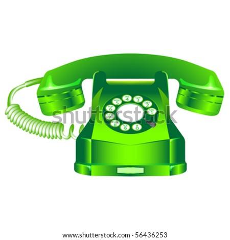 green retro telephone against white background, abstract vector art illustration - stock vector
