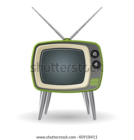Green retro television set isolated over white