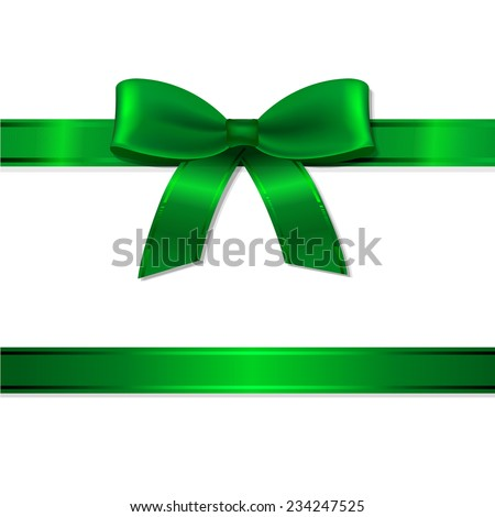 Green Ribbon And Bow With Gradient Mesh, Vector Illustration - stock vector
