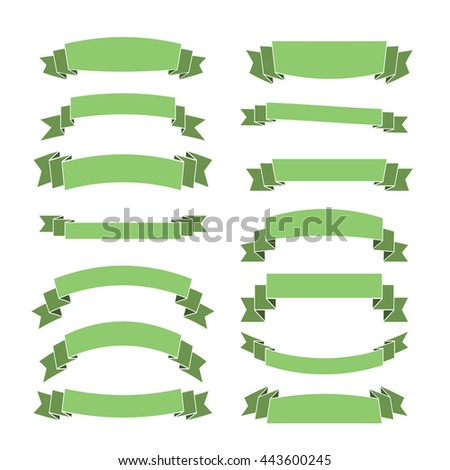 Green ribbon banners set. Beautiful blank for decoration graphic Old vintage style Flat design. Premium decorative elements isolated on white background. Template collection labels Vector illustration - stock vector