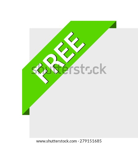 Green ribbon with word free - stock vector