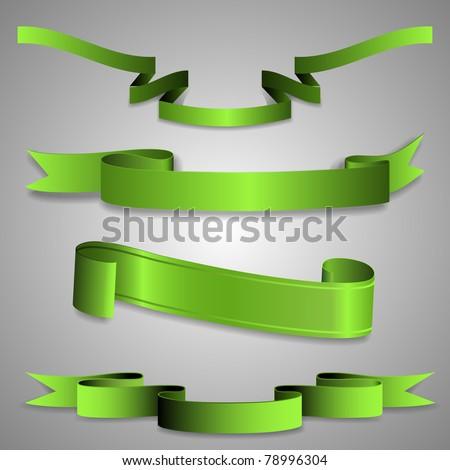 Green ribbons - stock vector