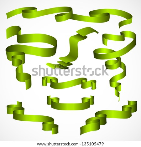 Green Ribbons Set, Isolated On White Background - stock vector