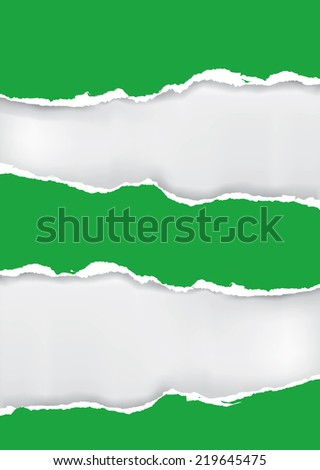 Green ripped paper. Vector illustration of green ripped paper with two places for your image or text.  - stock vector