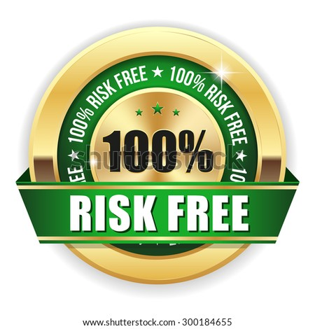 Green risk free badge with gold border and ribbon on white background - stock vector