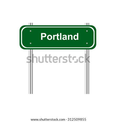 Green road sign Portland