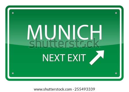Green road sign, vector - Munich - stock vector