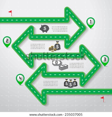 Green Road & Street Infographic Design with Money and Coin icon, Business step options, Illustration eps10. - stock vector