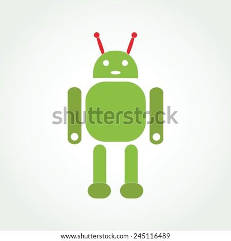Green robot concept icon or logo - stock vector
