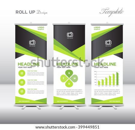 Green Roll Up Banner template and info graphics, stand design,vector illustration - stock vector