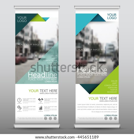 Green roll up business brochure flyer banner design vertical template vector, cover presentation abstract geometric background, modern publication x-banner and flag-banner, layout in rectangle size. - stock vector