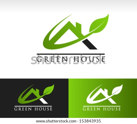 Green roof house logo icon with leaf and swoosh graphic element - stock vector