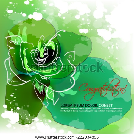 Green rose. Abstract vector background - stock vector