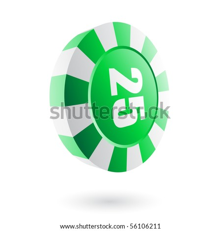 Green roulette chip isolated on white - stock vector