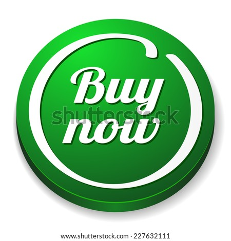 Green round buy now button on white background - stock vector