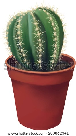 Green round Cactus in brown ceramic pot isolated on white background - stock vector