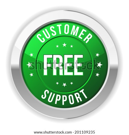 Green round customer support badge with metallic border