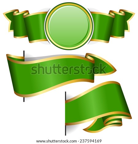 Green round frame with ribbon on white background - stock vector