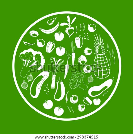 Green round frame with vegetables and fruits. Healthy, vegetarian food. Vector illustration  - stock vector