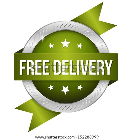 Green round free delivery button
