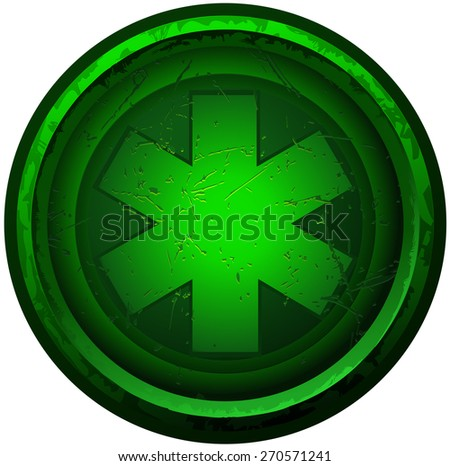Green Round Grunge Medical Symbol, Vector Illustration isolated on White Background.  - stock vector
