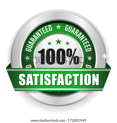 Green round hundred percent satisfaction badge - stock vector