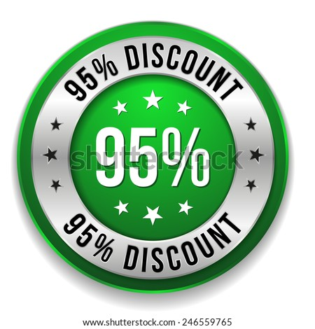 Green round ninety-five percent discount button on white background
