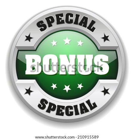 Green round special bonus button with metallic border