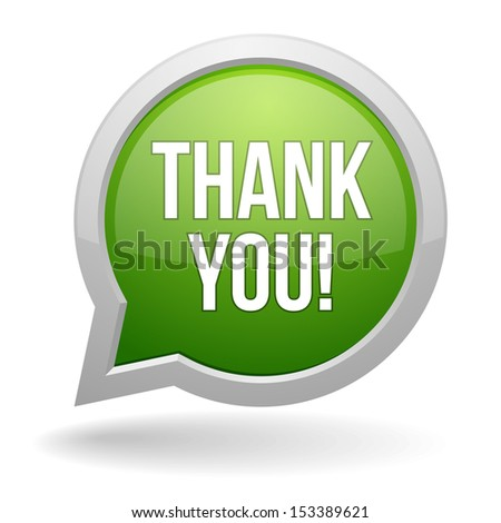 Green round thank you speech bubble - stock vector