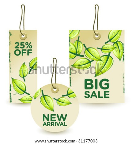 green sale tags set 1 - stock vector