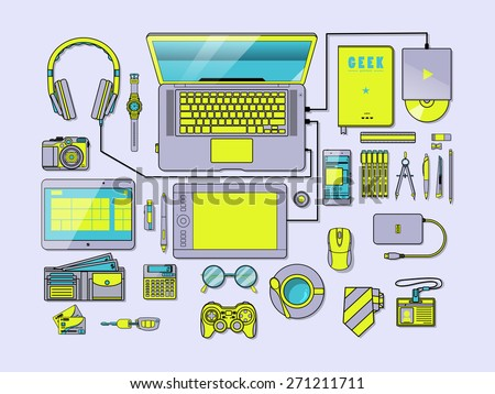 Green Scary Complete modern vector illustration concept of creative office workspace. Top view of desk background with laptop, digital devices, office objects, books and documents. - stock vector