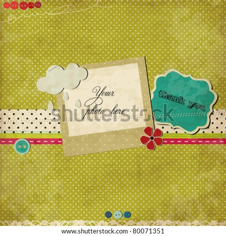 Green scrap template - stock vector