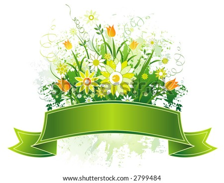 Green Scroll and yellow and white flowers on grunge background - stock vector