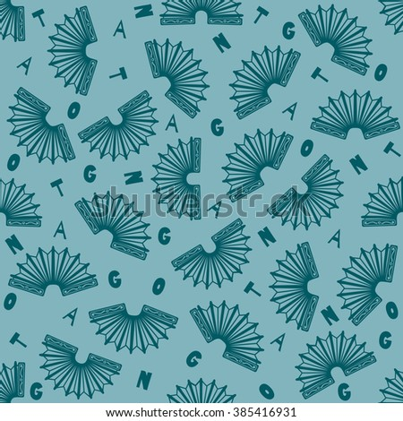 "Green seamless argentine tango background with little bandoneons and scattered letters spelling ""tango"" - stock vector"