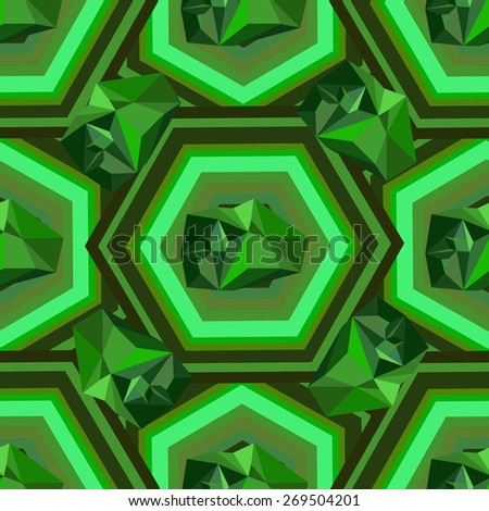 Green seamless mosaic and figures in 3D. - stock vector