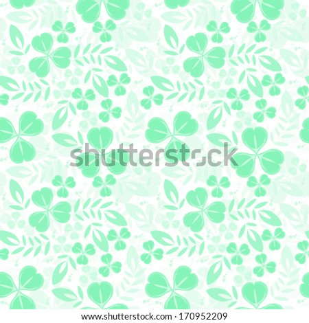 Green seamless pattern with shamrock - stock vector