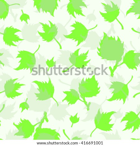 Green seamless vector pattern with hand drawn sycamore leaves. Background with silhouettes of different maple leaves.  - stock vector