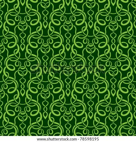 Green seamless wallpaper pattern - stock vector