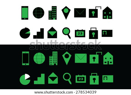 Green set of modern communication web icons for business cards, presentations, templates, and other design  - two versions of each symbol provided for quality on both light and dark backgrounds - stock vector