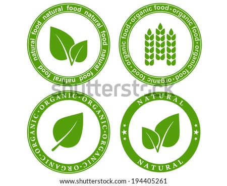 green set of natural food seal with leaf and decorative elements