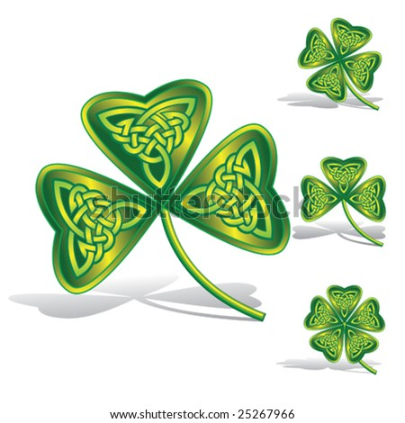 Green shamrocks with celtic knots by a decorative pattern.Clip arts for Your design to the day of St. Patrick - stock vector
