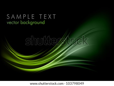 green shape shining on the black - stock vector