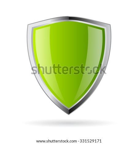 Green shield icon - stock vector