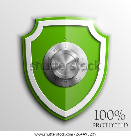 Green shield with Combination Lock isolated on white background. Security vector sign  - stock vector
