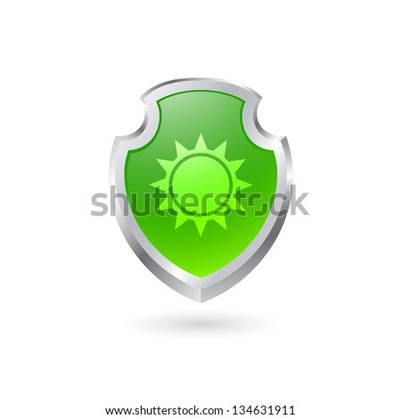 Green shield with the sun. EPS10 vector. - stock vector